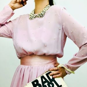 Vintage AJ Bari Blush Pink Maxi Dress tiny pearls